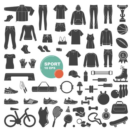 Sports and fitness icons vector illustration.