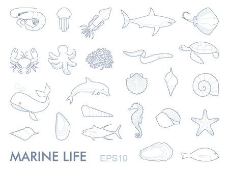 Marine life contour icons vector illustration.  イラスト・ベクター素材