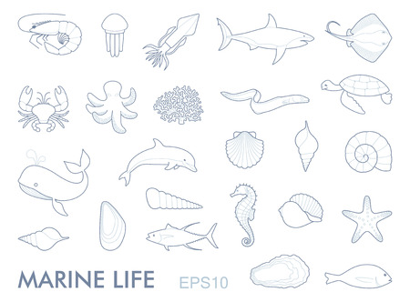 Marine life contour icons vector illustration. Vectores