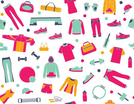 Equipment, clothing and accessories for sports and fitness in seamless pattern