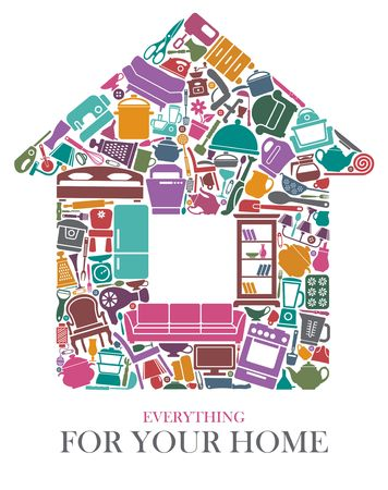 Household items in the shape of a house. Vector illustration Vettoriali