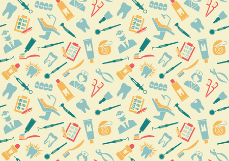 Seamless background about dentistry and dental care Stock Illustratie