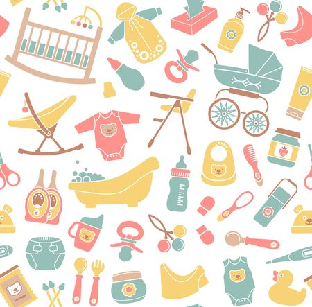 Seamless background on the topic of newborn. Vector illustration