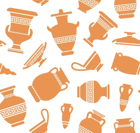 Seamless background with amphoras with an antique Greek ornament