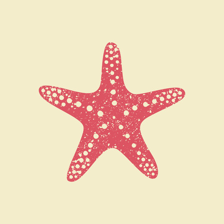 Starfish in flat style. Marine icon in cartoon style. Summer vector illustration. Vectores