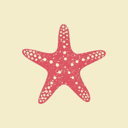 Starfish in flat style. Marine icon in cartoon style. Summer vector illustration. Vettoriali