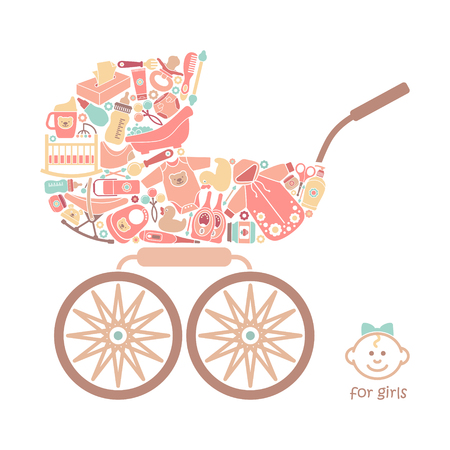 Icons of products for babies In the form of a baby Carriage. Vector illustration
