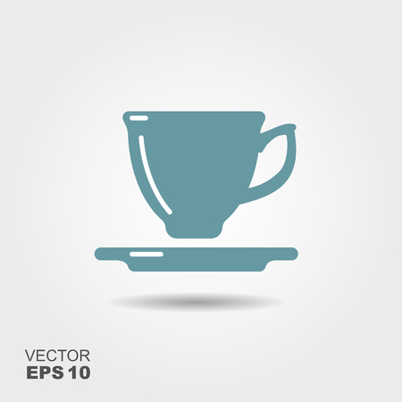 Vector illustration of a Cup for a hot drink. Flat icon