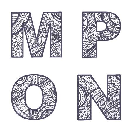 Cute hand drawn font. Vector letters set M-P