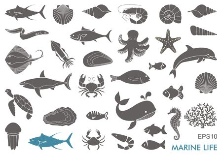 Silhouettes of sea inhabitants. Vector flat illustration Vettoriali