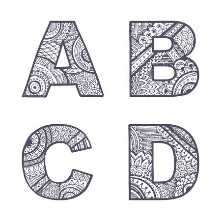 Vector letters set A-D 일러스트