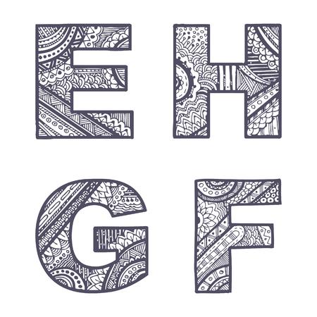 Cute hand drawn font. Vector letters set E-H