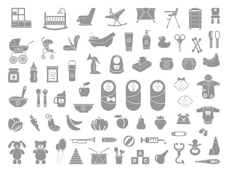 Baby icon set in flat style. Vector illustration