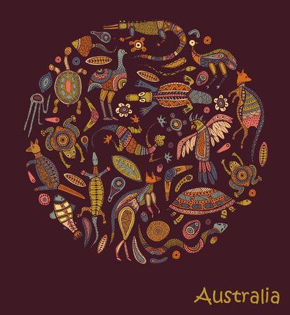 Animals Of Australia. Sketches in the style of Australian aborigines Vettoriali
