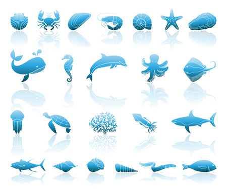 Silhouettes of sea inhabitants. Vector flat illustration Çizim