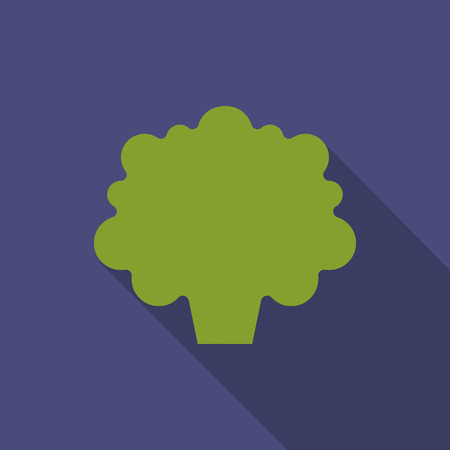 Broccoli icon in flat style. Vegetable from the garden. Organic food. Vector illustration.