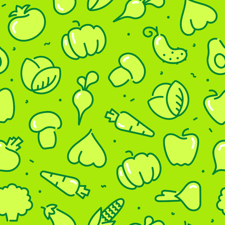 A Seamless pattern with contours stylized icons of vegetables, mushrooms and avocado Illustration