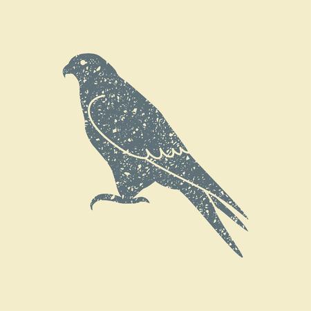 Silhouet van een valk op platte vector pictogram in retro stijl