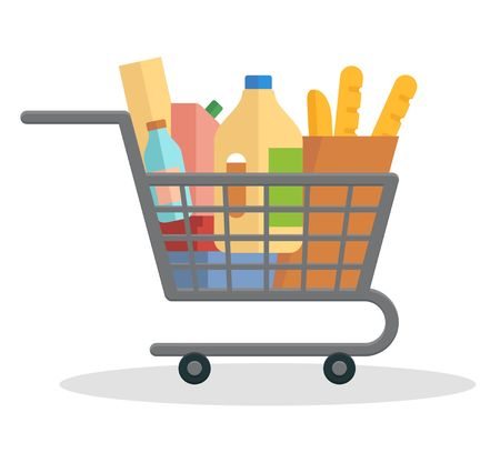 Shopping trolley full of food on Flat vector illustration Illustration