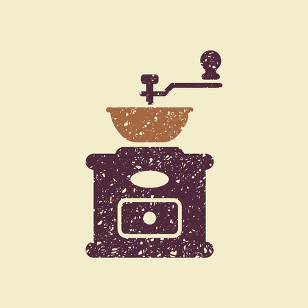 Classic manual coffee grinder. Vector flat icon. Illustration