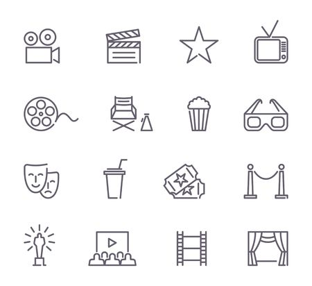 Simple Set of Cinema Related Vector Line Icons Stockfoto