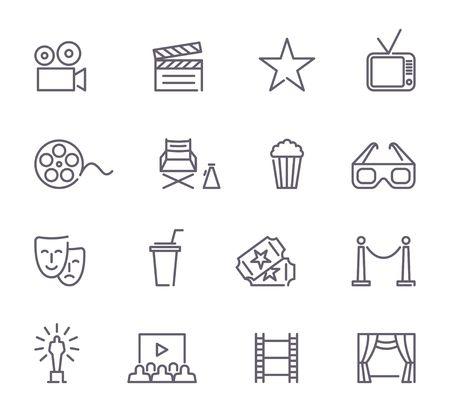 Simple Set of Cinema Related Vector Line Icons Banco de Imagens