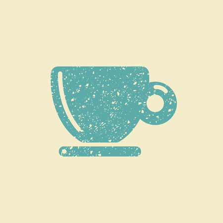 Coffee cup icon in grunge style, vector flat illustration.