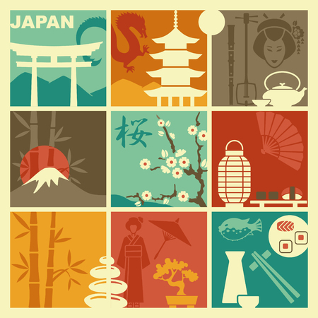 Traditional symbols of Japan. Vector flat illustration Illustration