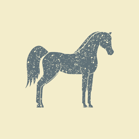 Vector silhouette of a horse. Flat icon in grunge style