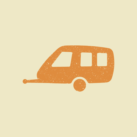 Camping trailer flat icon in grunge style. Vector illustration. 矢量图像