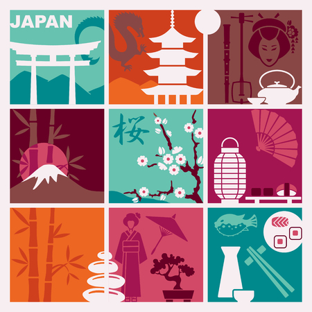 Traditional symbols of Japan. Vector flat illustration Illustration