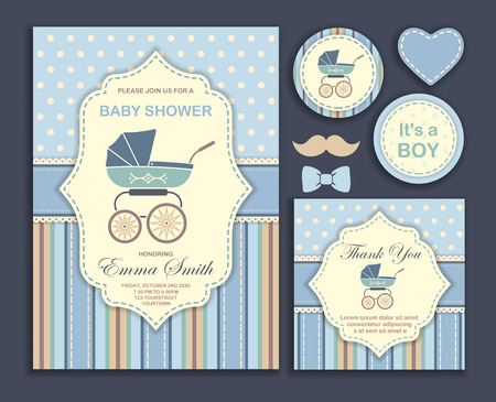 Baby shower. Invitation card design for boy. Illustration