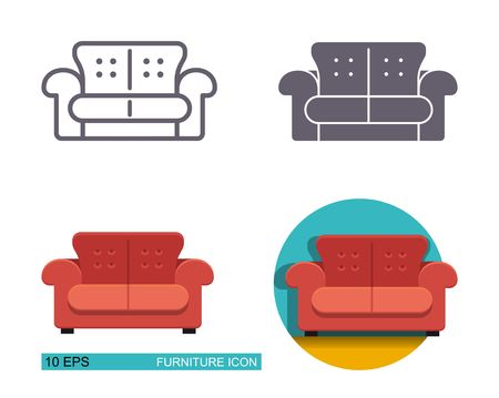 Vector icons of the sofa. Different types of styling