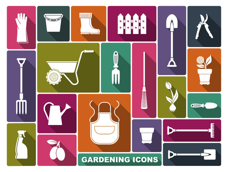Garden tools, the equipment and symbols. Vector illustration