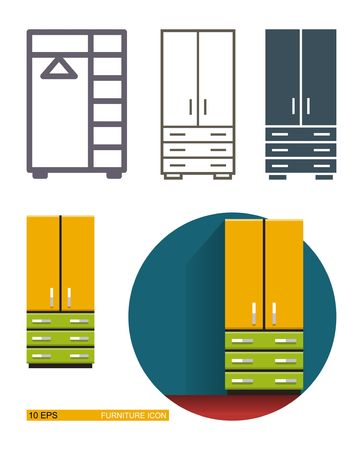 Stock Photo   Vector Icons Of The Closet Wardrobe. Different Types Of  Styling