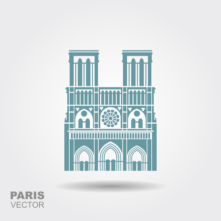 Notre Dame de Paris Cathedral, France. Flat icon with shadow Banque d'images
