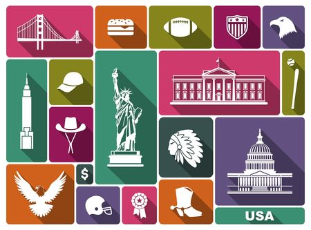 Traditional symbols of architecture and culture of the USA Stock Photo
