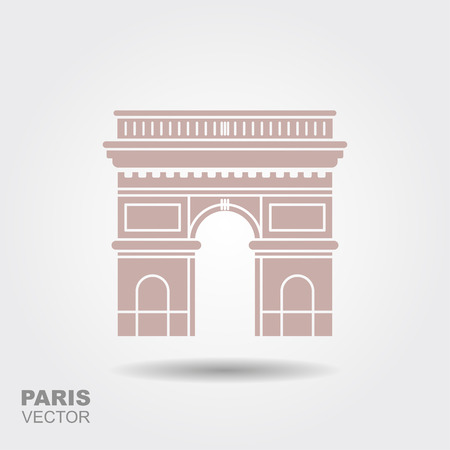 Arc de Triomphe, Paris, France Flat stylized icon Stock Photo