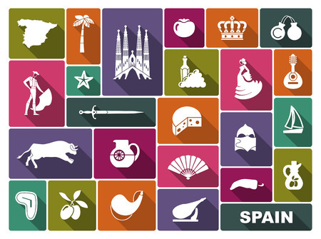 Traditional symbols of culture and sights of Spain Illustration