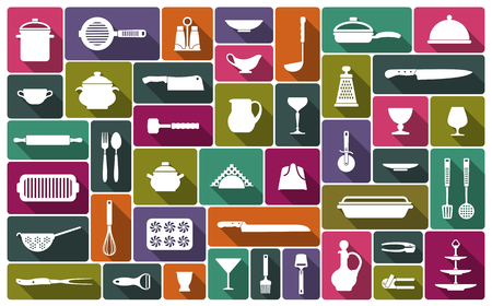 Silhouettes of kitchen ware and utensils.