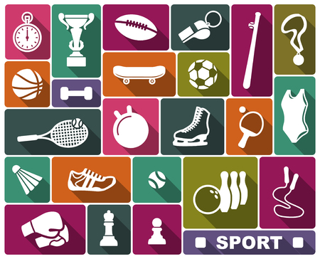 Simple icons of the sports goods and accessories Ilustrace