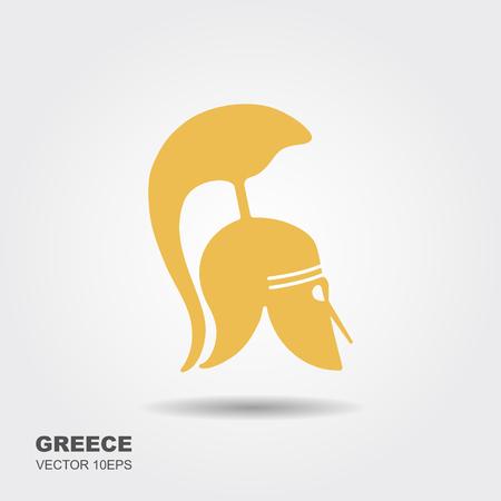 Greek, ancient helmet flat icon isolated on white Illustration