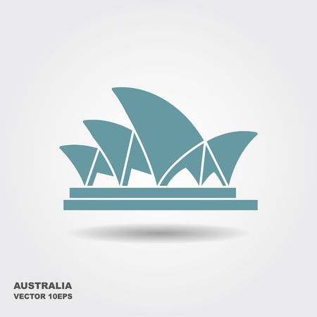 Stylized image of the Sydney Opera house. Vector icon with shadow