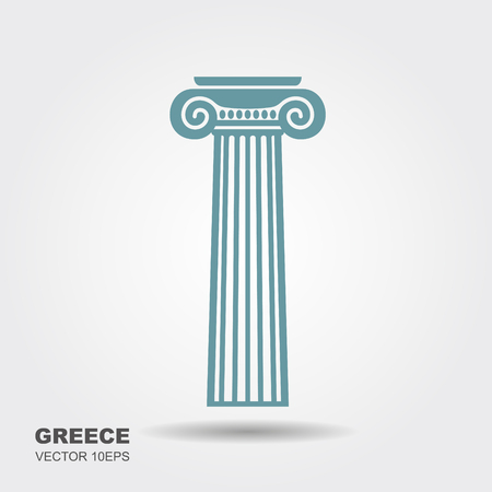 Greek classical column. Ionian style. Flat vector icon