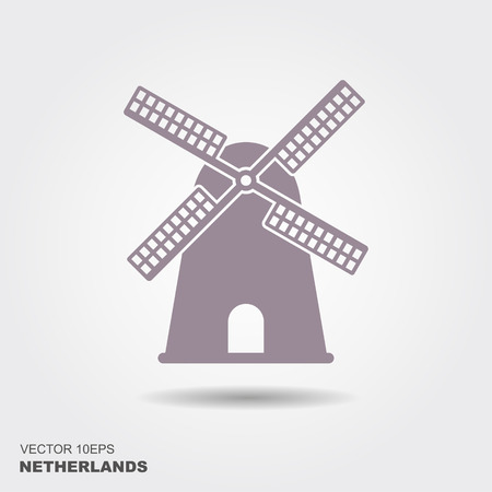 Traditional Holland dutch windmill. Flat vector icon Vettoriali