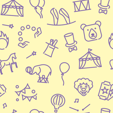 Circus background in linear style. Vector pattern Stock Illustratie