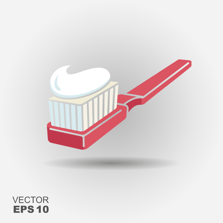 Silhouette of a toothbrush with toothpaste. Simple vector icon Illustration