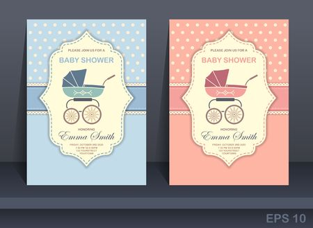 Baby shower. Invitation card design for boy and girl