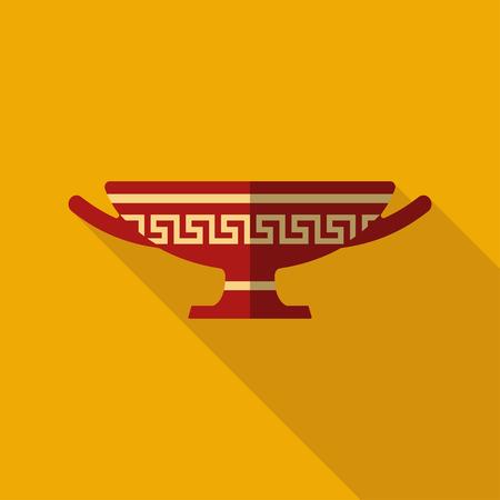 Antique Greek vase. Stylized flat icon wint shadow