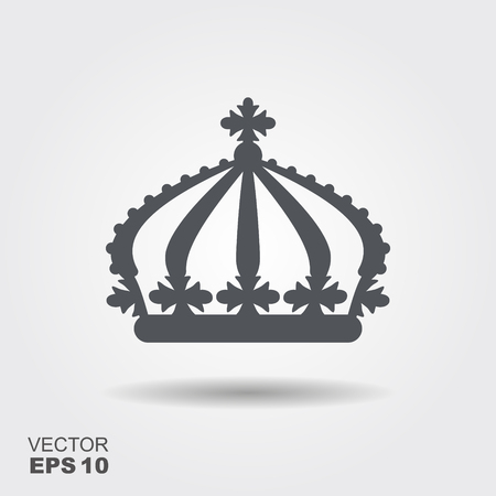 llustration of a crown in flat design style. Vector icon Ilustração